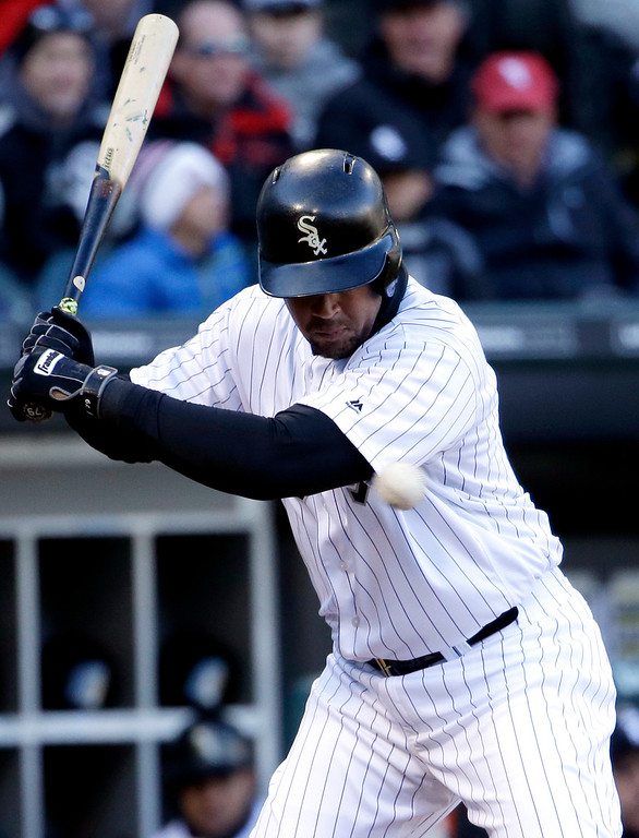 . Chicago White Sox\'s Jose Abreu is hit by a pitch during the sixth inning of a baseball game against the Cleveland Indians Friday, April 8, 2016, in Chicago. (AP Photo/Nam Y. Huh)