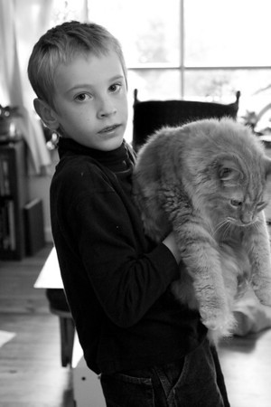 Daniel with Denny, cats June 14, 2011