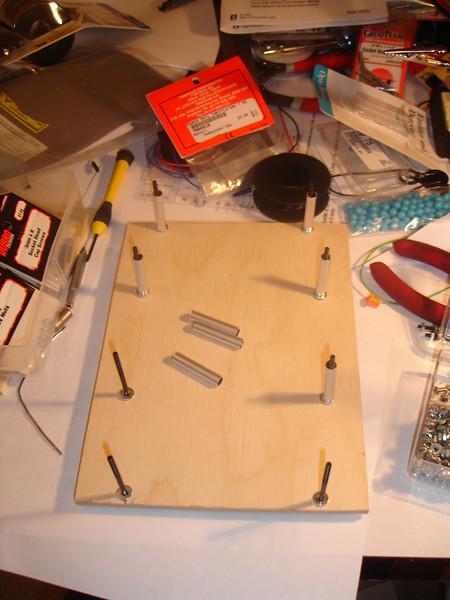 Preparing the upper base - leftover aluminum drumsticks from Little Drum Machine become DIY standoffs