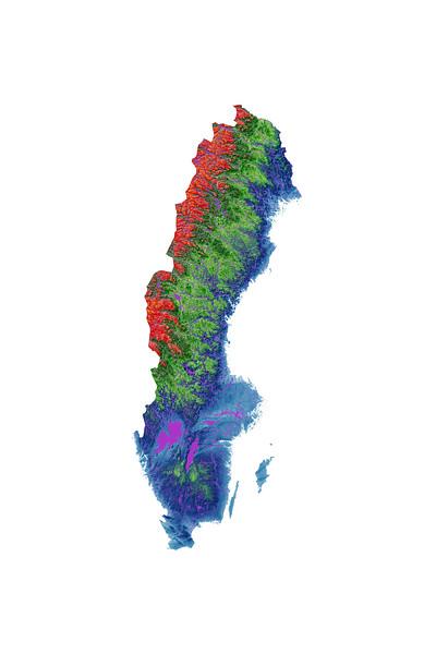Elevation map of Sweden