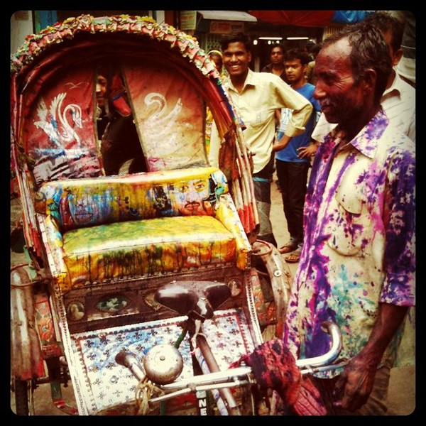 Rickshaw driver meets Holi celebrations in old Dhaka