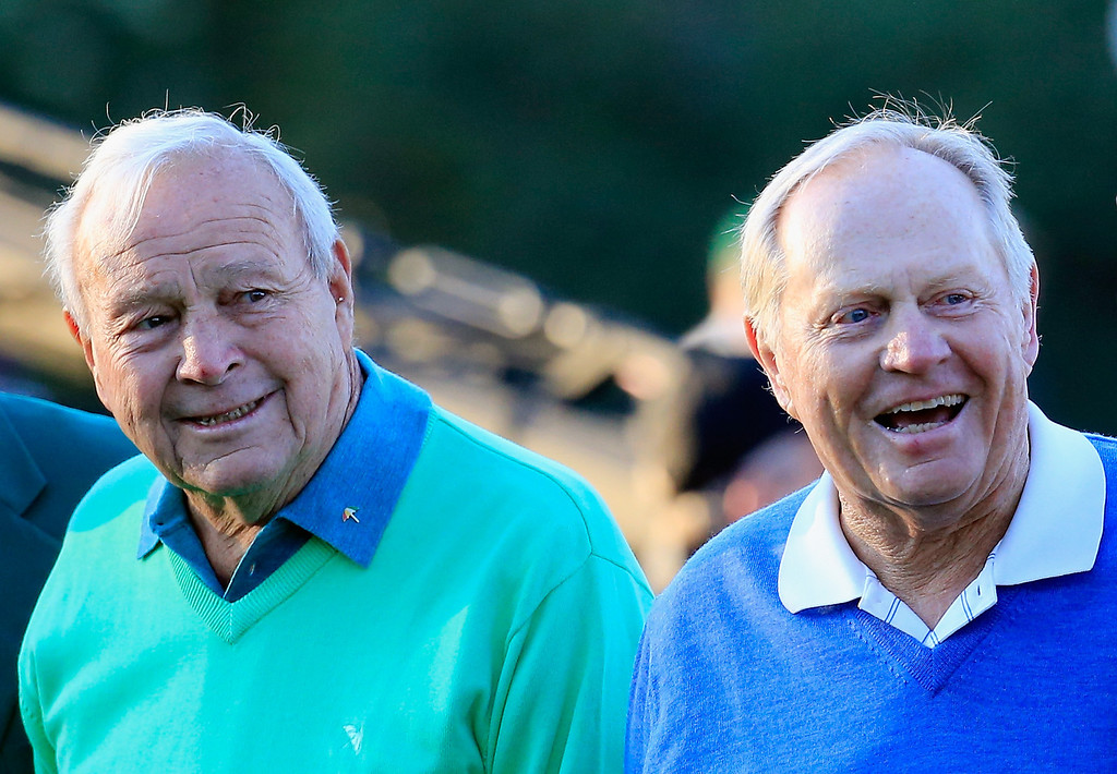 . Honorary starters Arnold Palmer and Jack Nicklaus wait on the first tee at the start of the first round of the 2014 Masters Tournament at Augusta National Golf Club on April 10, 2014 in Augusta, Georgia.  (Photo by Rob Carr/Getty Images)