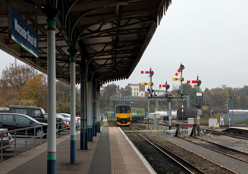 LondonMidland 150 013 departing Worcester Shrub Hill station for Birmingham.