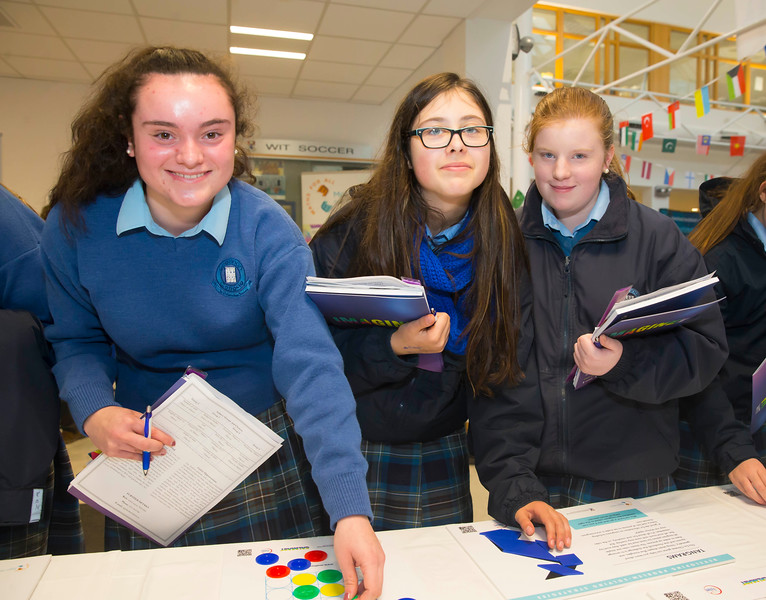 22/11/2017. Waterford Institute of Technology's (WIT) 'College Awareness Day. Pictured are Ciara O'Driscoll, Casey Nolan and Nicola Amatniece from Grennan College, Thomastown, Co.Kilkenny. Picture: Patrick Browne  Hundreds of secondary school students from across the South East celebrated College Awareness Week by attending Waterford Institute of Technology's (WIT) 'College Awareness Day' on Wednesday 22 November 2017. The events gave secondary school students a taste of college life and helped students of all ages to become 'college ready' by raising awareness of the benefits of going to college. There was an  hourly talk/workshop on how to become college ready (including presentations on college life), an expo area, and a chance to explore the campus. Students attended workshops on sport, electronics, sport and creative as well as presentations on college life at WIT, student supports, new courses for 2018, routes of entry and clubs and societies. They also got an overview of WIT's new common and broad entry courses for 2018.     Elaine Larkin Communications & PR Executive, Waterford Institute of Technology   Phone: +353 51 845577  Mobile: 087-7105148
