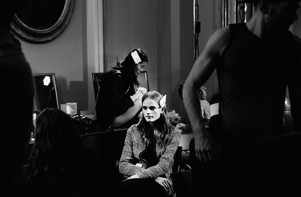 . (EDITORS NOTE: Image has been converted to black and white.) A model is seen backstage ahead to the Fay show as part of Milan Fashion Week Womenswear Spring/Summer 2015 on September 17, 2014 in Milan, Italy.  (Photo by Vittorio Zunino Celotto/Getty Images)