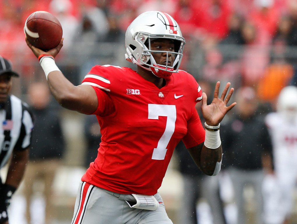 . Ohio State quarterback Dwayne Haskins drops back to pass against Rutgers during the first half of an NCAA college football game Saturday, Sept. 8, 2018, in Columbus, Ohio. (AP Photo/Jay LaPrete)