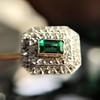 Art Deco Emerald and Diamond Pin, French 10