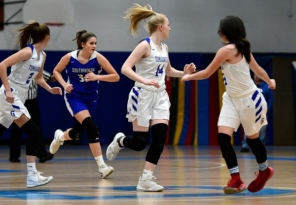 3/5/2020 Mike Orazzi | StaffrGlastonbury's Hannah Van Dyke (14) during the Class LL Second Round of the CIAC 2020 State Girls Basketball Tournament at Glastonbury High School on Thursday night.