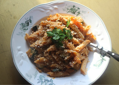 130418 Penne with  Sundried Tomatoes, Squash and Pepper