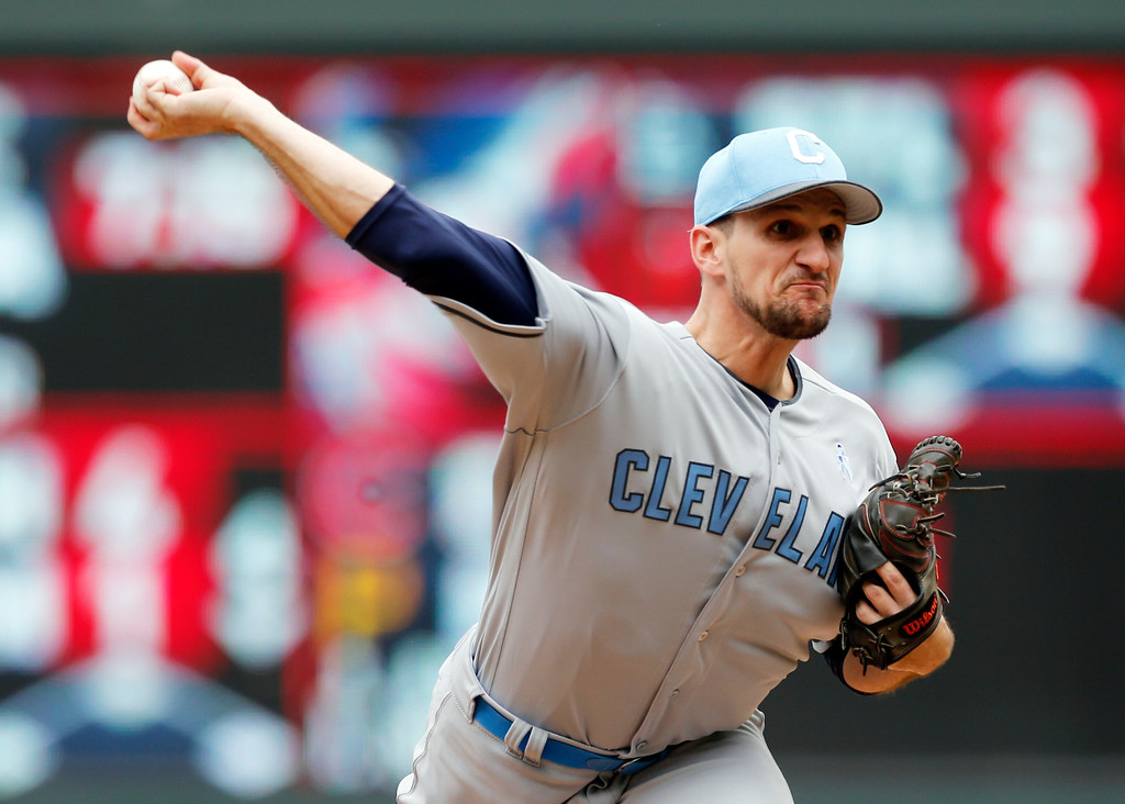 . Cleveland Indians relief pitcher Dan Otero pumps his fist in celebration at the final out as the Indians beat the Minnesota Twins 9-3 in game one of a baseball doubleheader Saturday, June 17, 2017, in Minneapolis. (AP Photo/Jim Mone)