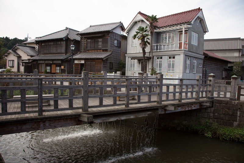 A beautiful set of old houses, both typical Edo style and western inspired. The waterfall from the bridge runds before boarding the trip and at end of it.