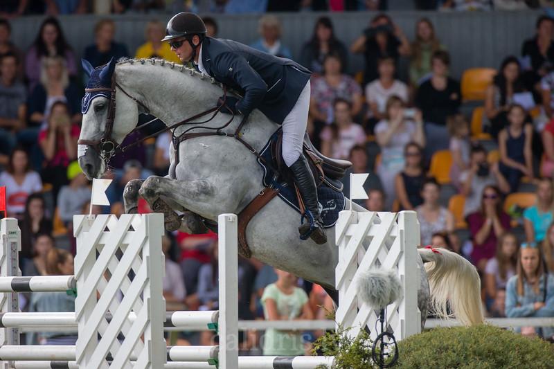 Andis VARNA (LAT) with the horse KS CORADINA, World Cup competition, Grand Prix Riga, CSI2*-W, CSIYH1* - Riga 2016, Latvia
