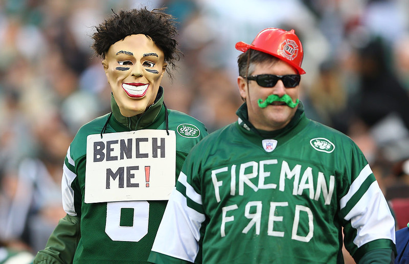 . New York Jets fans react during the game against the Arizona Cardinals during their game at at MetLife Stadium on December 2, 2012 in East Rutherford, New Jersey.  (Photo by Al Bello/Getty Images)