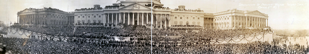 . This panorama image, formed by putting two photos next to each other, shows the March 15, 1917 inauguration of President Woodrow Wilson. Wilson was beginning his second term in office. (AP Photo/Library of Congress)