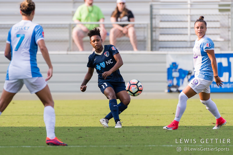 Taylor Smith (11) and Camila Pereira (9) during a match between the NC Courage and the Orlando Pride in Cary, NC in Week 3 of the 2017 NWSL season. Photo by Lewis Gettier.