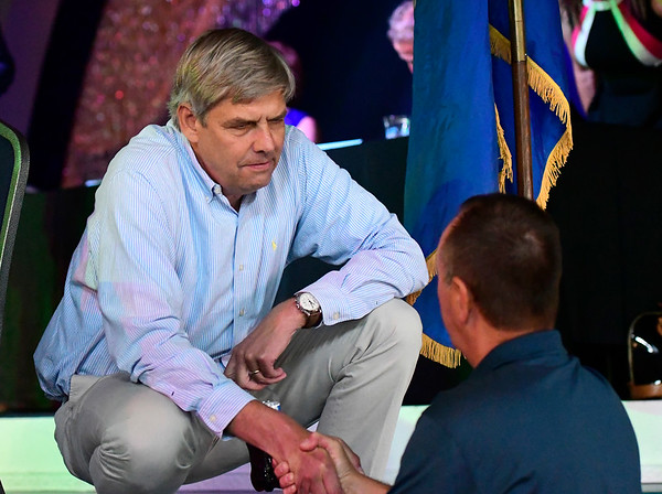 8/31/2018 Mike Orazzi | Staff Bob Stefanowski, Republican candidate for governor, during the 137th Crocodile Club at Lake Compounce Friday.