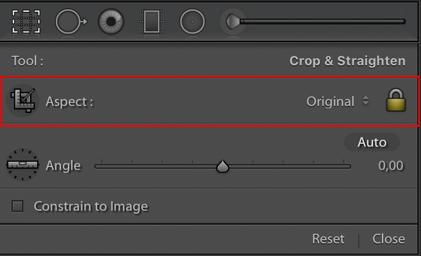 The Crop Overlay Tool with the Aspect Section framed in red.  The Crop Overlay Tool's Aspect Ratio settings explained