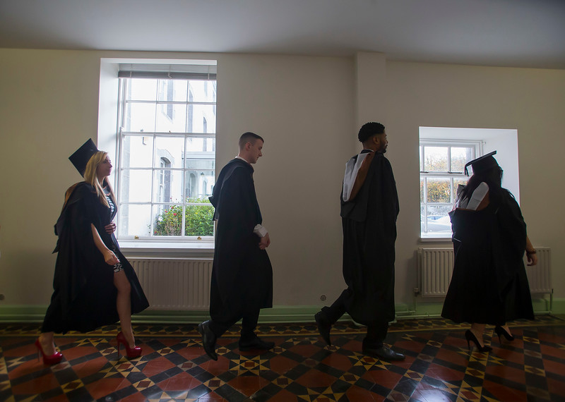 28/10/2015. FREE TO USE IMAGE. WIT (Waterford Institute of Technology) conferring ceremony at WIT College Street Campus, Waterford. Pictured are graduates making their way to the conferring cermony. Picture: Patrick Browne