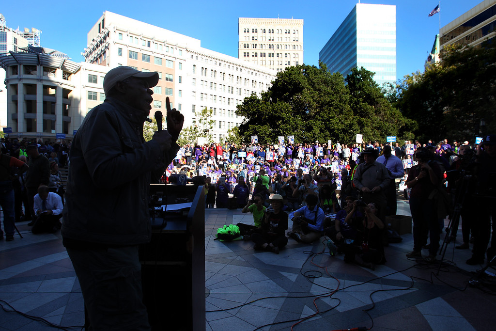 . Actor Danny Glover speaks before union members and supporters of BART workers during a rally at Frank Ogawa Plaza in Oakland, Calif., on Thursday, Aug. 1, 2013. (Ray Chavez/Bay Area News Group)