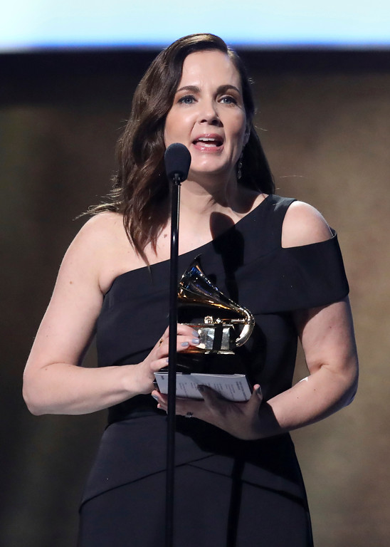 ". Lori McKenna accepts the award for best country song for ""Humble and Kind\"" at the 59th annual Grammy Awards on Sunday, Feb. 12, 2017, in Los Angeles. (Photo by Matt Sayles/Invision/AP)"