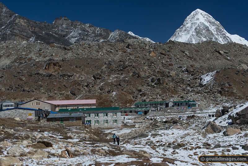 Lobuje after a light snow dusting. The area begins to get busy in March as trekkers and climbing support teams move through to Everest base camp.