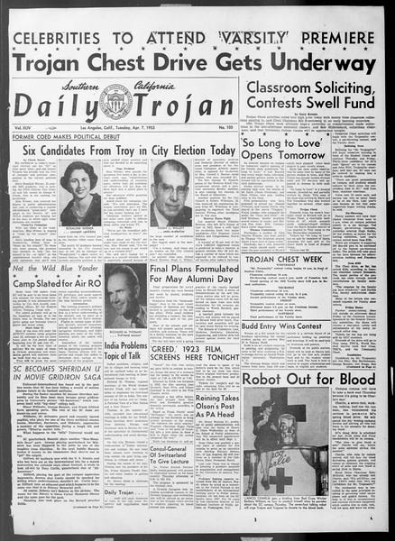 Daily Trojan, Vol. 44, No. 105, April 07, 1953