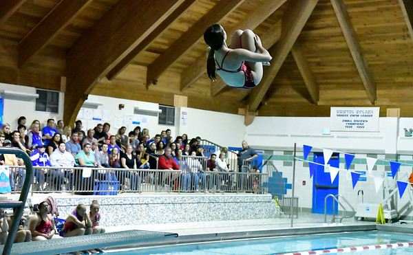 10/12/2019 Mike Orazzi | StaffrSt. Paul's Adrianna Raymond during the city swim meet on Saturday night. r