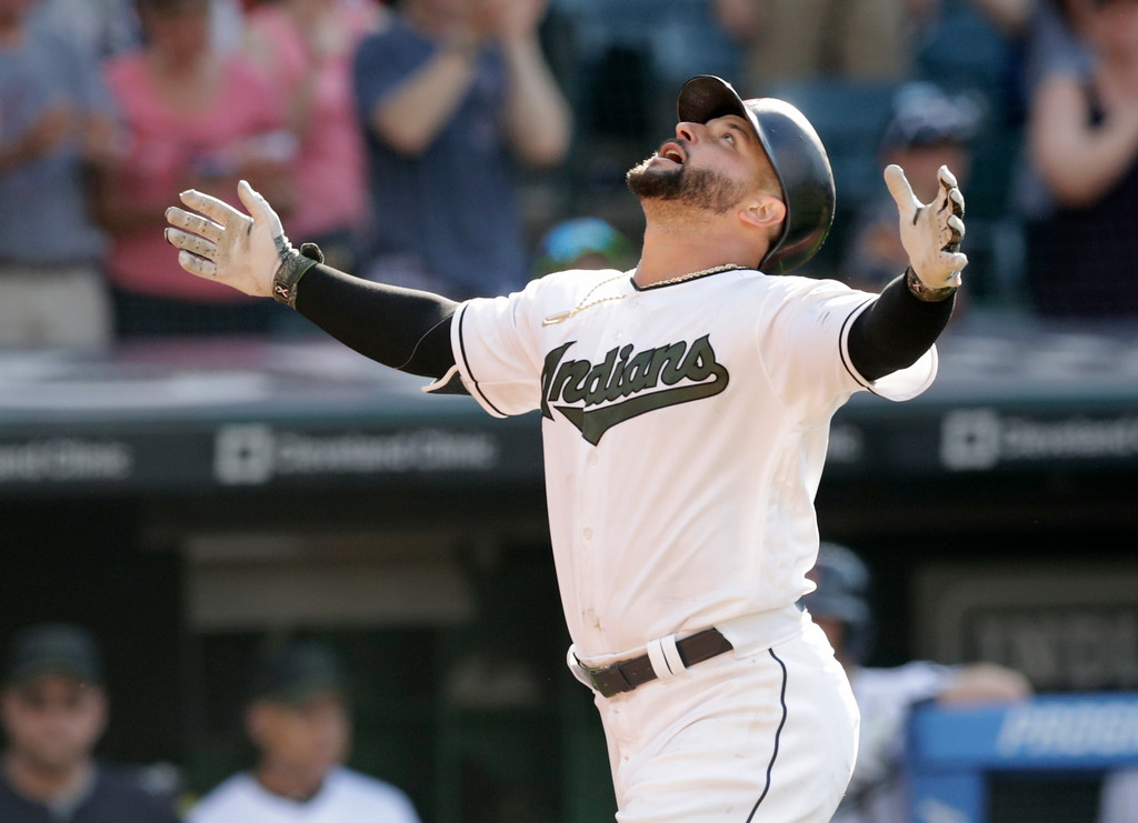 . Cleveland Indians\' Yonder Alonso looks up after hitting a solo home run off Cleveland Indians starting pitcher Danny Salazar in the 13th inning of a baseball game, Sunday, May 27, 2018, in Cleveland. (AP Photo/Tony Dejak)