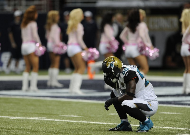 """. <p>5. JACKSONVILLE JAGUARS <p>Hard to believe they�re ONLY 28-point underdogs in Denver on Sunday. (unranked) <p><b><a href=\'http://espn.go.com/nfl/story/_/id/9785515/denver-broncos-tie-record-highest-point-spread\' target=\""""_blank\""""> HUH?</a></b> <p>    (AP Photo/L.G. Patterson)"""