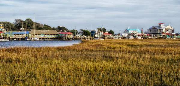 """""""Seaside Town"""" - Southport - from the Salt Marsh Boardwalk - Catalog #2005"""