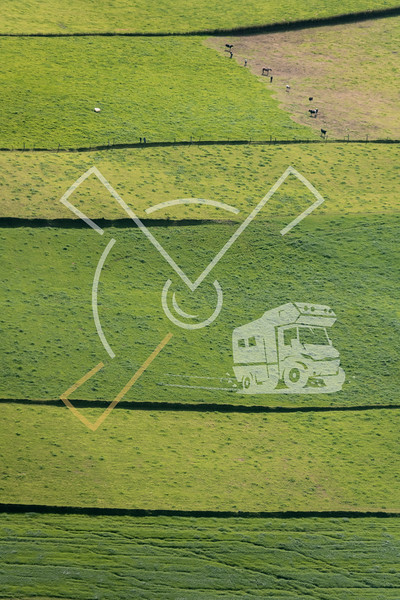 Aerial image of green pastures on Sao Miguel Island
