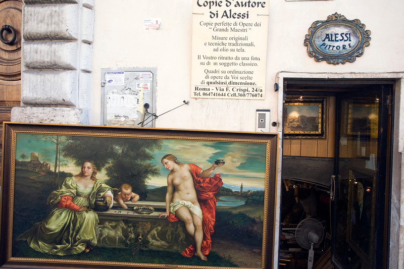 Painter shop offering copies of famous works, Rome
