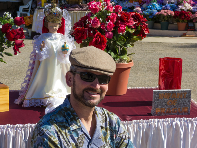 """Old man at the annual Portuguese """"Our Lady of Fatima"""" Celebration parade in Thorton, CA."""