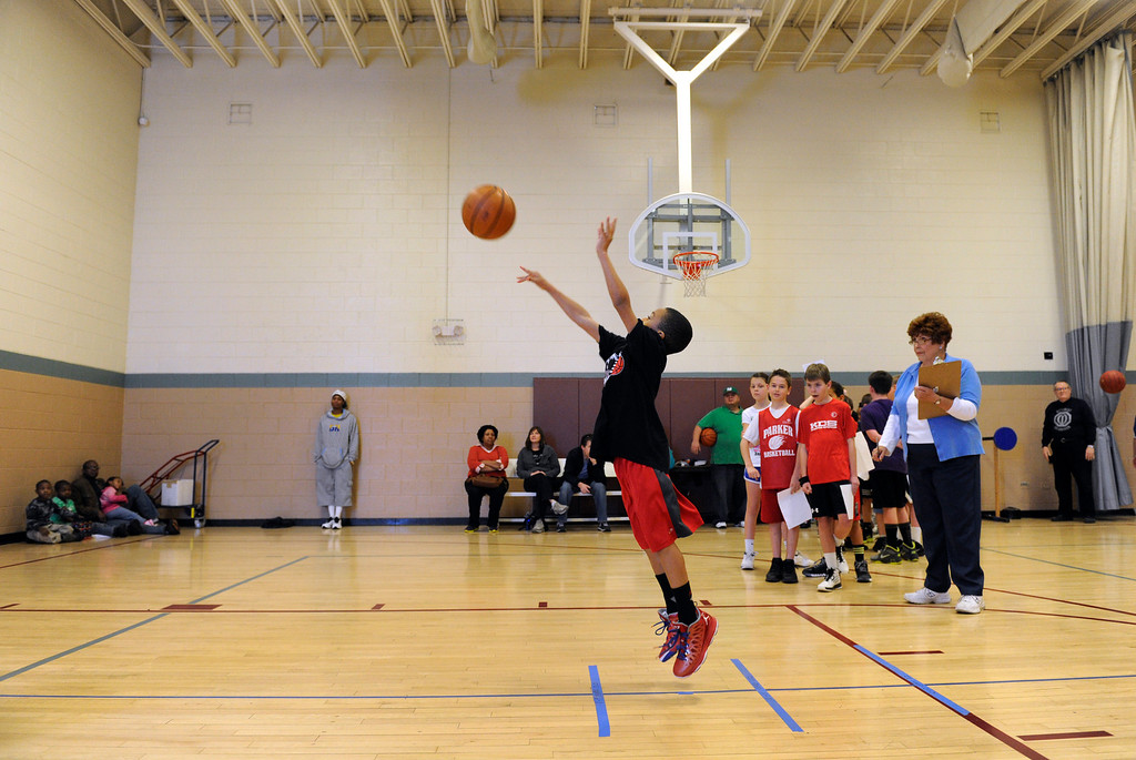 . DENVER, CO. - FEBRUARY 23: Jeinnasea Sanders, 8, takes his turn at the shooting skill test. The Tamarac Optimist Club sponsors one of the Tri-Star Basketball Competitions at the Eisenhower Recreation Center in Denver. The competitions are held over a several week period for boys and girls 8-13 years-old. The winners from this competition go on to the regional finals, and those winners will play in the final competition on Mar. 23, 2013 at the Pepsi Center before a Nuggets game. There are still several opportunities for kids to try out. Go to www.tristarbasketball.org for upcoming times and locations. (Photo By Kathryn Scott Osler/The Denver Post)