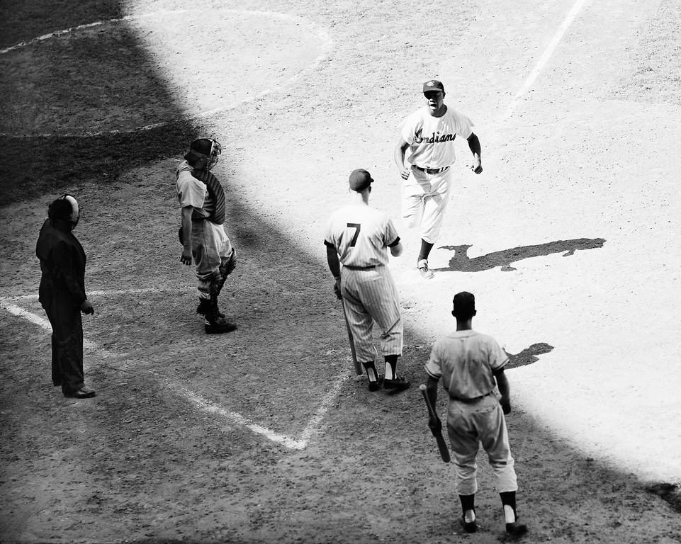 . Cleveland�s Larry Doby trots home on his game Municipal Stadium, on July 13, 1954. Doby�s blow made score 9-9, with American Leaguers scoring two more runs to win, 11-9. (AP Photo/PS)