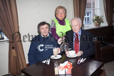 Paddy O'Hanlon, Ray Dodds and Gervase McCartan from Cancer Research Uk launch World Cancer Day Coffee Morning which will take place on February 4th in the Sean Hollywood Arts Centre. R1604008