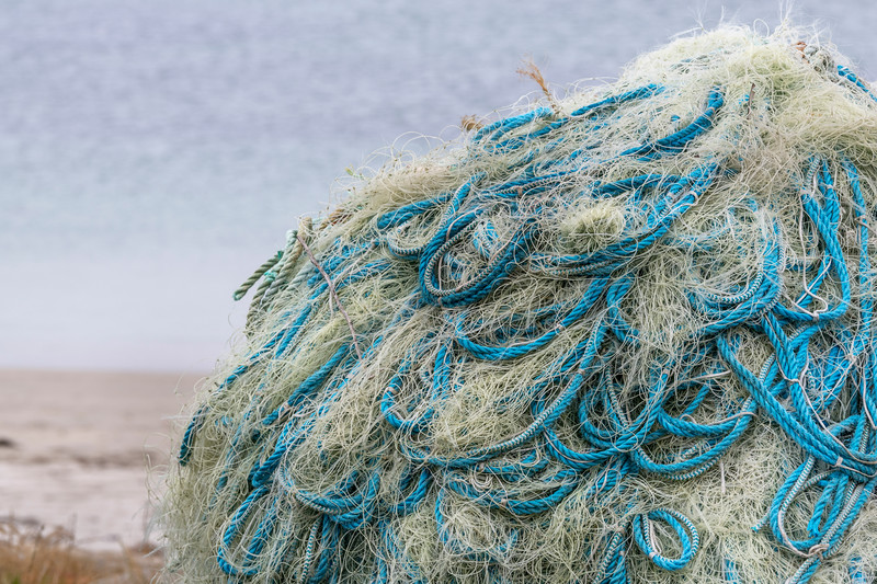 Close-up of a pile of commercial fishing nets, Mullet Peninsula, Belmullet, Erris, County Mayo, Republic of Ireland