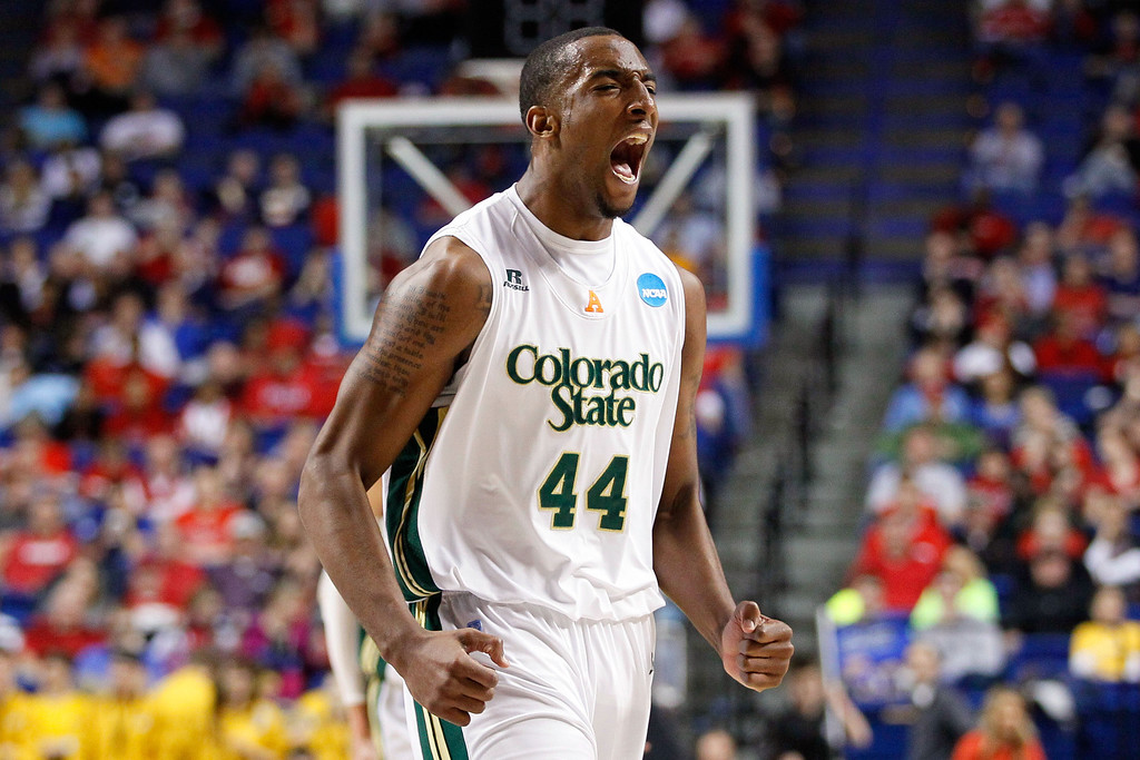 . LEXINGTON, KY - MARCH 21:  Greg Smith #44 of the Colorado State Rams reacts after a basket by his team against the Missouri Tigers during the second round of the 2013 NCAA Men\'s Basketball Tournament at the Rupp Arena on March 21, 2013 in Lexington, Kentucky.  (Photo by Kevin C. Cox/Getty Images)