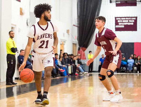 01/15/20 Wesley Bunnell | Staff Innovation boys basketball was defeated by Bristol Central at home Wednesday January 15, 2019. Innovation's Dashawn Hill (21).