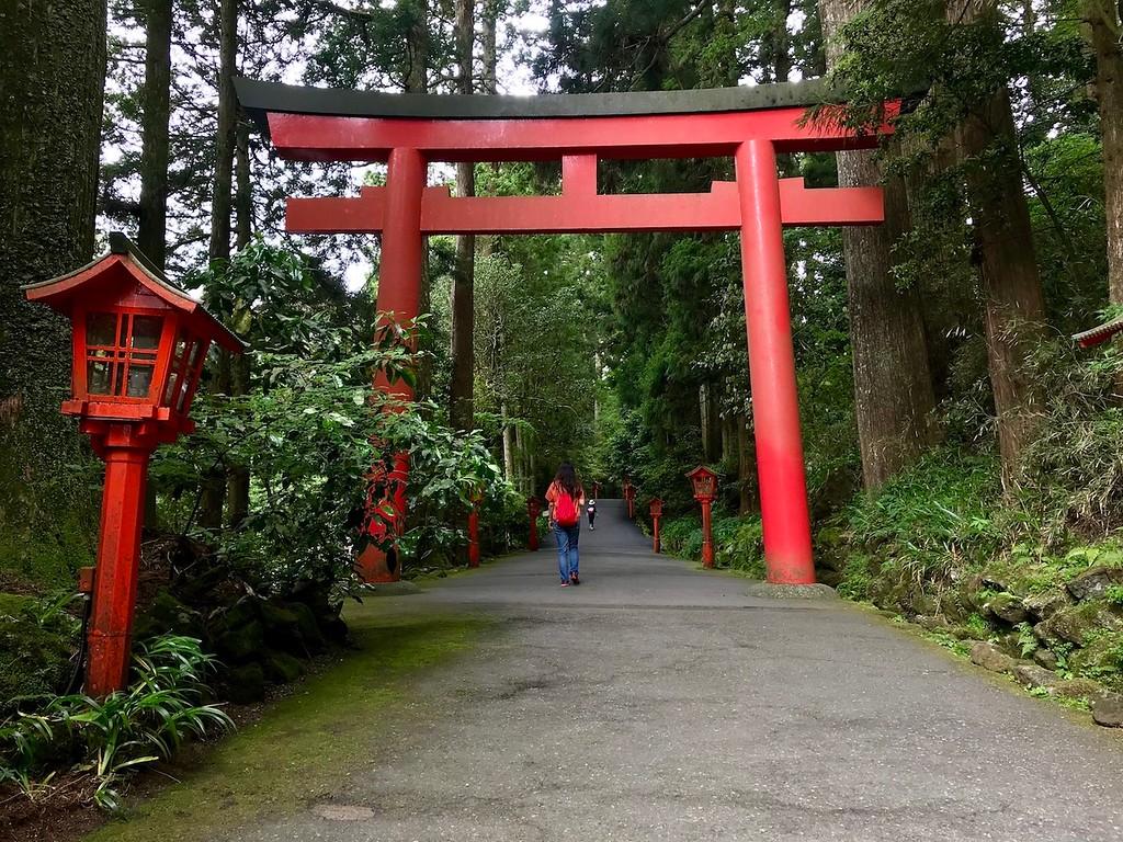 The entrance to Hakone Shrine.