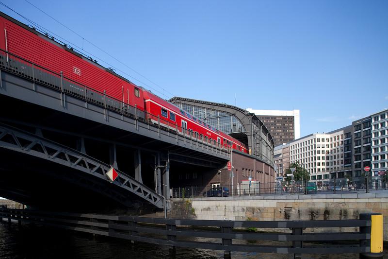 Regional train arriving to Friedrichstrasse station, Berlin, Germany