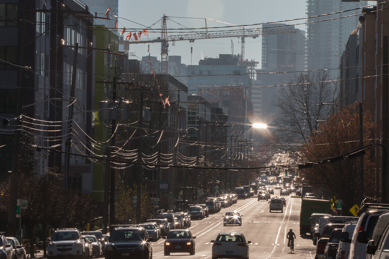 In Fast growing Seattle, a view down Dexter Avenue North into the heart of the growing South Lake Union district