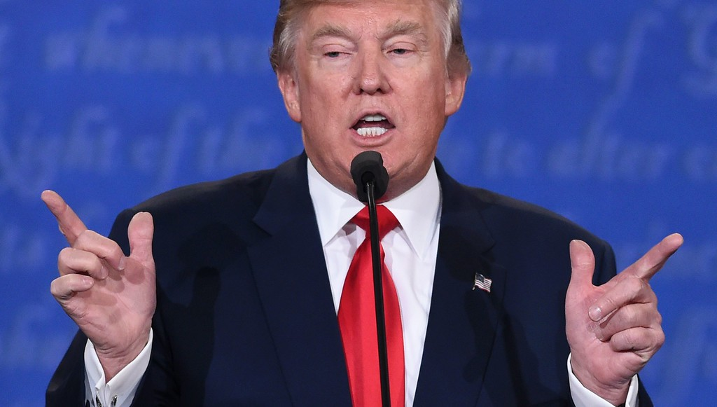 . US Republican presidential candidate Donald Trump speaks during the final presidential debate at the Thomas & Mack Center on the campus of the University of Las Vegas in Las Vegas, Nevada on October 19, 2016. (SAUL LOEB/AFP/Getty Images)
