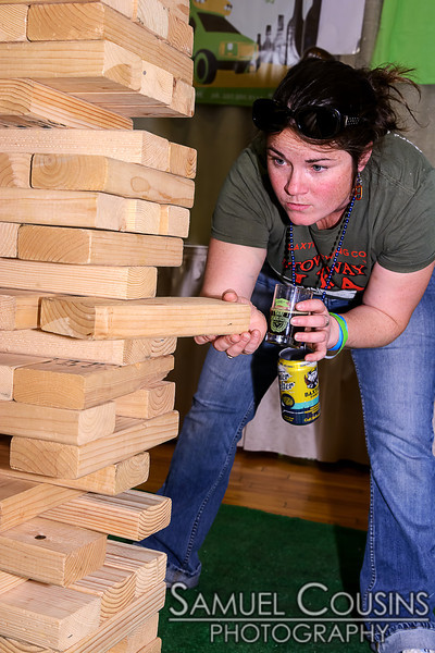 Rory concentrating on her jenga game.