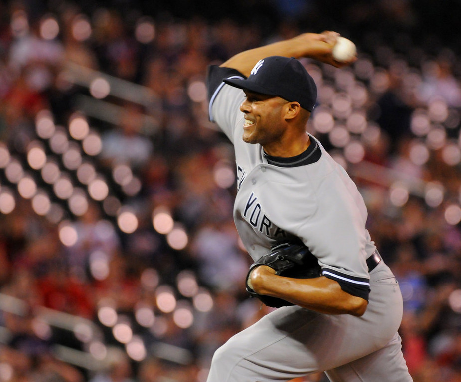 . New York relief pitcher Mariano Rivera throws against Minnesota during the fourth inning. (Pioneer Press: John Autey)
