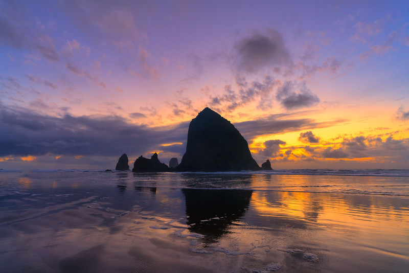 Haystack Rock and Dusk Sky