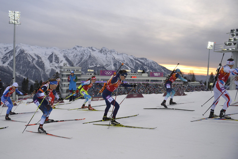 . From left: Estonia\'s Danil Steptsenko, US\' Lowell Bailey, Slovenia\'s Peter Dokl, Norway\'s Tarjei Boe, Ukraine\'s Dmytro Pidruchnyi and France\'s Alexis Boeuf compete in the Men\'s Biathlon 4x7.5 km Relay at the Laura Cross-Country Ski and Biathlon Center during the Sochi Winter Olympics on February 22, 2014, in Rosa Khutor, near Sochi. The Russian team won gold.  (ODD ANDERSEN/AFP/Getty Images)