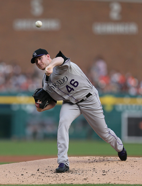 . DETROIT, MI - AUGUST 02: Tyler Matzek #46 of the Colorado Rockies pitches in the second inning of the game against the Detroit Tigers at Comerica Park on August 2, 2014 in Detroit, Michigan.  (Photo by Leon Halip/Getty Images)