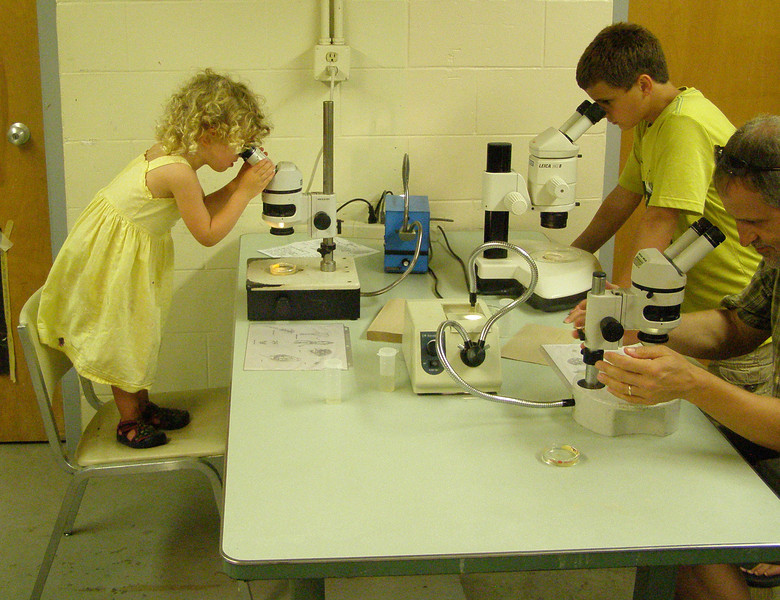 Visitors from young to old got into the microscope station in our Wet Lab.