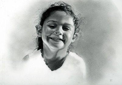 """Portrait of Joy"" (charcoal and graphite) by Rosanna Gaddoni"